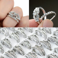10Pcs Mixed Wholesale Lots Silver Plated Crystal Rhinestone Rings Jewelry Gift