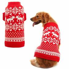 Orangexcel Classic Red Dog Knitted Sweater With Cute Reindeer For Puppy Pet, M