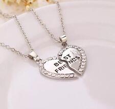 "Fashion Heart Double ""BEST FRIEND"" Friendship Silver Necklace Pendant Chain"