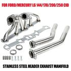 STAINLESS STEEL HEADER EXHAUST MANIFOLD FOR FORD/MERCURY L6 144/170/200/250 CID  for sale
