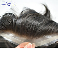 French Lace Front Hair System Fine Mono Men Toupee Poly Skin Hairpiece All Color