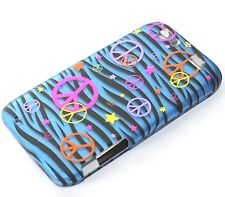 For Motorola Atrix HD MB886 - HARD PROTECTOR SKIN CASE COVER BLUE ZEBRA PEACE