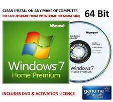 Windows 7 Home Prem SP1 64bit on Microsoft Hologram DVD - FOR ANY COMPUTER + Key