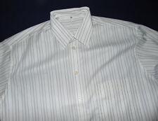 deSoto White Stripped Long Sleeve Button Front Dress Shirt  US L 15 1/2 Euro 39