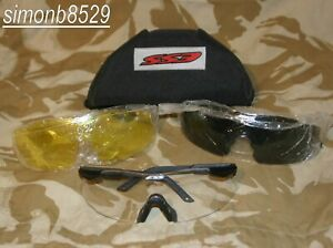UK British Army Surplus Issue ESS ICE Safety Glasses Smoke-Yellow-Clear Lenses