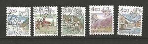 5 timbres oblitérés Suisse signes du zodiaque et paysages /T6069