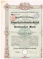 Böhmische Nordbahn-Gesellschaft, Prag 1882, 300 Mark