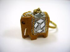 Collectible Keychain: Wood Wooden Elephant Silver Color Design