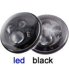 "2x 7"" LED Headlights Black no Halo H4 For Nissan Patrol GQ Ford Maverick MQ G60"
