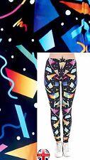 Femmes Super Doux Mat Tissu Confetti Print Noir Leggings Pantalon UK 8-12
