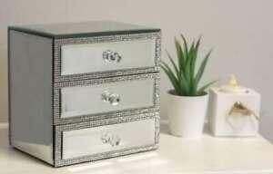 3 Drawer Mirrored Diamante Jewellery Box Silver Chest Trinket Storage Gift