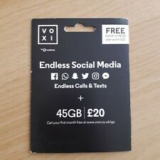 VOXI £20 SIM Card - 45 GB Data - Argos