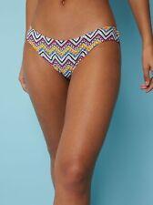 George Neon Zigzag Print High Leg Bikini Bottoms Size 12