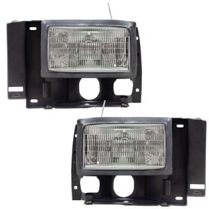 Pair Headlights fits Ford Explorer Bronco II Ranger Pickup Truck Headlamps Set