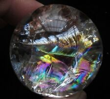 91g  NATURAL rainbow & ghost CRYSTAL QUARTZ CLEAR SPHERE BALL