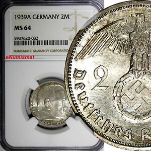 Germany-Third Reich Silver 1939 A 2 Reichs Mark NGC MS64 Hindenburg KM# 93 (032)