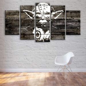 Large Banksy Yoda Star Wars 5 Panel Canvas, Huge, Wall Art, Picture, Print #074