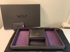 Valet Tray Watch Winder 7.5x12.5x1.5 3 Wolf 305128 Black Pebble Leather Blake