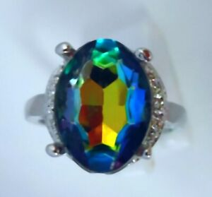 "GORGEOUS MYSTIC TOPAZ   RING UK Size ""V"" US 11.5"