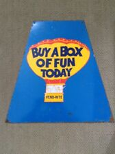 """vintage metal Vend-Rite sign Buy A Box of Fun Today 20"""" from vending machine"""