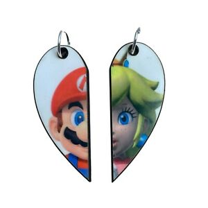 Mario Matching Heart Pendants | Mario and Princess Peach | Couple or BFF Gift
