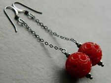 Art Deco Cherry Red Carved Celluloid Beads & Oxidised Sterling Silver Earrings