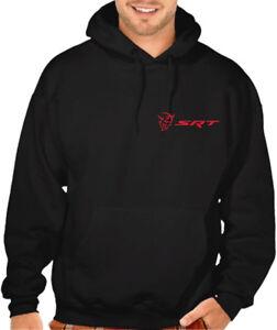 Men's Dodge Challenger Demon SRT Logo Black Hoodie Hellcat Muscle Car Racing