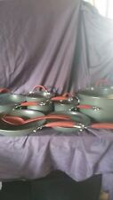 Rachael Ray non-stick cookware set. 11 piece gray and red