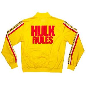 "Official WWE Authentic Hulk Hogan ""Hulk Rules"" Chalk Line Track Jacket Yellow"