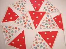 CATH KIDSTON CHRISTMAS OILCLOTH FABRIC BUNTING BANNER Baubles, Red Spot  NEW !!!