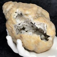 """5"""" Large Druzy Botryoidal Crystal Geode White Snowball Quartz Cluster 2 sided KY"""
