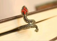 Non Adjustable Snake Serpent Style Ring Finished Ancient Bronze Red Gem Crystals