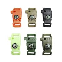Survival Buckle With Whistle Fire Starter Flint Steel Camping Outdoor Emergency