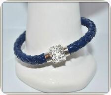 Mens Womens Leather Bracelet Bangle Silver Magnetic Rhinestone Free Gift Bag 38