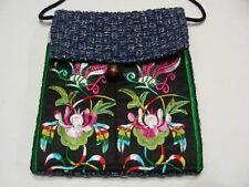 BLUE & BLACK - MULTI-COLOR - DOUBLE POUCH - SMALL ASIAN THEME SHOULDER BAG!