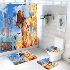 One Piece Ace Bath Mat Shower Curtain Non-Slip Contour Rug Toilet Lid Cover 4PCS