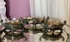 Antik Silber 800 3x Saliere Jardiniere Schale Kristall Glaseinsatz Jugendstil
