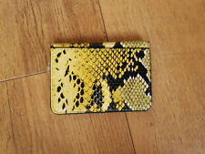 URBAN OUTFITTERS CREDIT CARD HOLDER Faux Leather Snakeskin Print Yellow - NEW