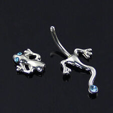 Body Piercing Gecko Lizard Crystal Surgical Steel Bar Belly Navel Ring Optimal