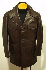 vintage men's leather jacket coat fight club pimp rocker - size 42