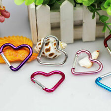 2Pcs Outdoor Aluminum Heart-Shaped Carabiner Key Chain Clip Hook Backpack Buckle
