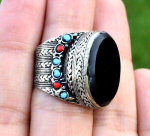 Turkmen Black Onyx Stone Ring Tribal Kuchi Silver Afghan Jewelry Ethnic Gypsy