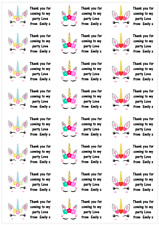 Personalised 48 Unicorn Head Horn Stickers Labels Party Bag Sweet Cones ThankYou