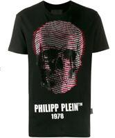 SALE NEW Authentic Philipp Plein Skull Embellished Black T-shirt Small Size BNWT