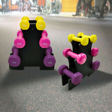 3 Pairs PVC Coated Iron Dumbbell - 12kg Weight Set - 1kg + 2kg + 3kg + Free Rack