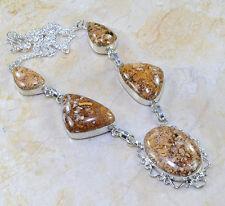 multicolor jaspe piedra preciosa plata de ley 925 Collar 47cm w96616