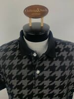 J. Lindeberg Mens XXL Slim FIt Black Gray Houndstooth Golf Polo Shirt Textured