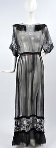 EDWARDIAN SHEER BLACK SILK CHIFFON LONG DRESS W BEAUTIFUL WHITE BEADWORK