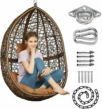 GREENSTELL Hammock Chair with Hanging Kits, Cushion & Pillow, Egg Large Brown