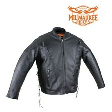 Mens Leather Racer Motorcycle Jacket w/Gun Pockets z/o Lining By Milwaukee Rider